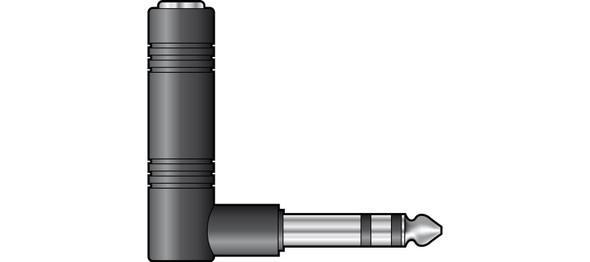 Adaptor Right Angle 6.3mm Stereo Jack Plug – 6.3mm Stereo Jack Socket