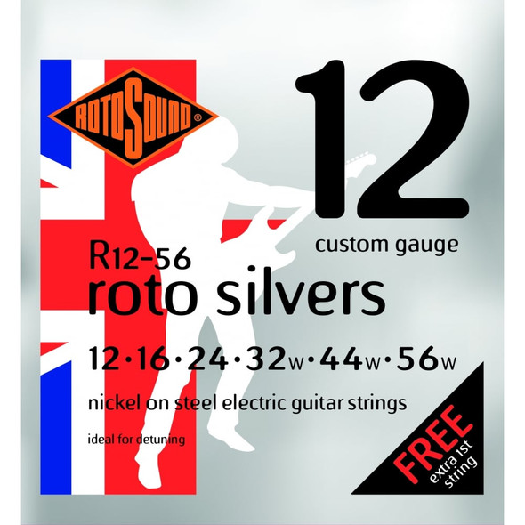 Rotosound Roto Silvers 12-56 Nickel Electric Guitar String Set