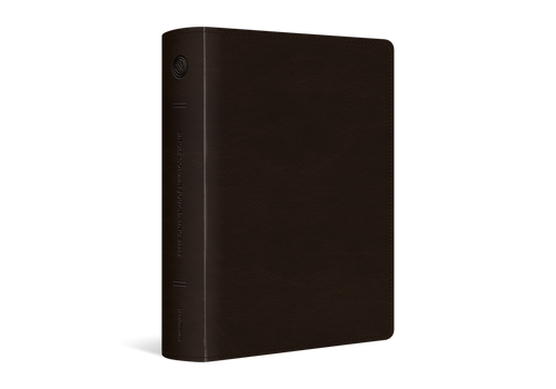 This ESV Single Column Journaling Bible, Large Print includes the same excellent quality paper and 2-inch margins as the ESV Single Column Journaling Bible, but with a larger, 9.5-point type. This is perfect for individuals who like to have space in the Bible to write notes, artwork, or prayers in their Bible.