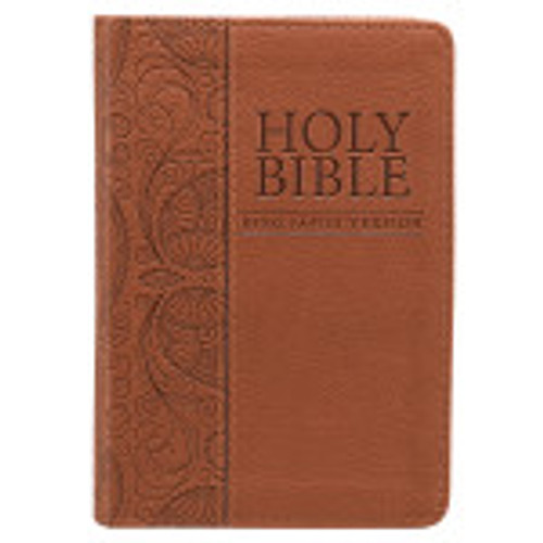ThisTan Faux Leather King James Version Pocket Biblecan fit in your purse or pocket as a tan faux leather cover. It has a heat debossed paisley design that is decorated along the back cover and wrapped around the spine.