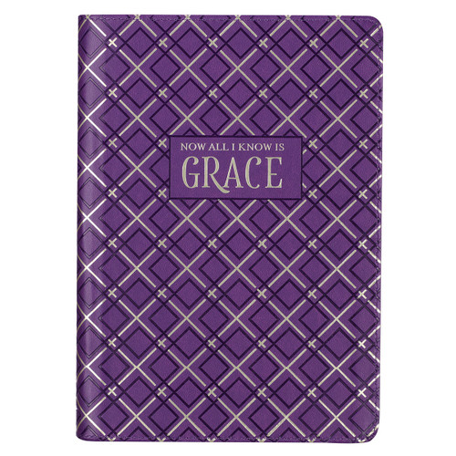 Now All I Know Is Grace Purple Faux Leather Classic Journal Inspirational Zippered Notebook w/Ribbon 336 Lined Pages Book Cover