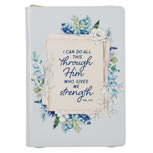 All Things Through Him Philippians 4:13 Bible Verse Pale Blue Floral Faux Leather Classic Journal Inspirational Zippered Notebook w/Ribbon 336 Lined Pages Book Cover