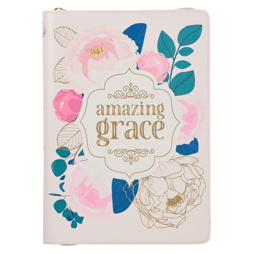 Amazing Grace Faux Leather Classic Journal with Zipped Closure Book Cover