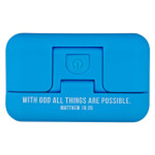 With God All Things Are Possible Blue Clip-On Book Lightcan be shared with friends who love to read. The white lettering on the book light can remind your friend that, With God All Things Are Possible.(Matthew 16:26)