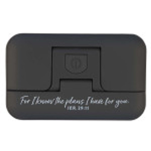 You will enjoy reading all the more with the I Know the Plans Black Adjustable Clip-on Book Light.Enjoy staying in your bed as you enjoy hours of reading. The book light is inscribed reminding you of Jeremiah 29:11, I know the plans I have for you.