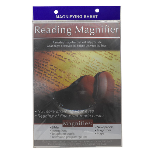 Magnifying sheets are a handy tool for people with vision challenges to quickly read passage without having to search for their glasses. TheFull Page View Magnifying Sheetallows you to look at a whole page in one glance.