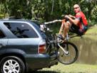 SeaSucker Bomber 3 Bike Rack with rider siting on bike