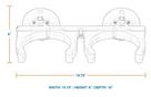 SeaSucker 2-Tank Rack Vertical Mount Dimensions