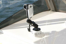 Camera Mount with 114 mm SeaSucker in boat. Compatible with most photographic and video cameras