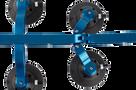 The SeaSucker Komodo with Blue Frame demonstrating its adjustable footprint - BK1910
