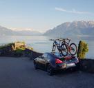 2021 Talon - Single Bike Rack 2-PACK Edition installed on the rear window of a Nissan 370z