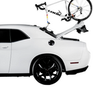 2021 Talon - Single Bike Rack 2-PACK Edition installed on the rear window of a Dodge Coupe but can still open the rear boot with the bike mounted.