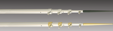 Lee's TX3717SL/S - 17 ft Telescopic Outrigger Poles - Bright Silver with Black Spikes