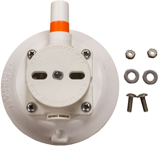 SeaSucker EPIRB Mount kit includes stainless steel hardware to secure your EPIRB to the 114 mm Vacuum Mount