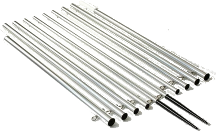 Lee's AP3519XS - 19ft Extra Strong Bright Silver Outrigger Poles
