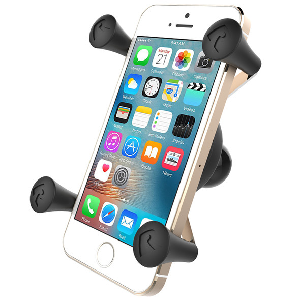 RAM Mounts RAM-HOL-UN7BU Universal X-Grip Cell Phone Holder with iPhone in cradle