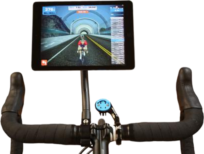 SeaSucker Trainer Flex Mount - iPad mounted on an exercise bike