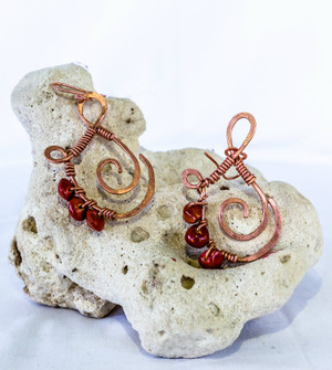 Copper Earrings with John crow beads