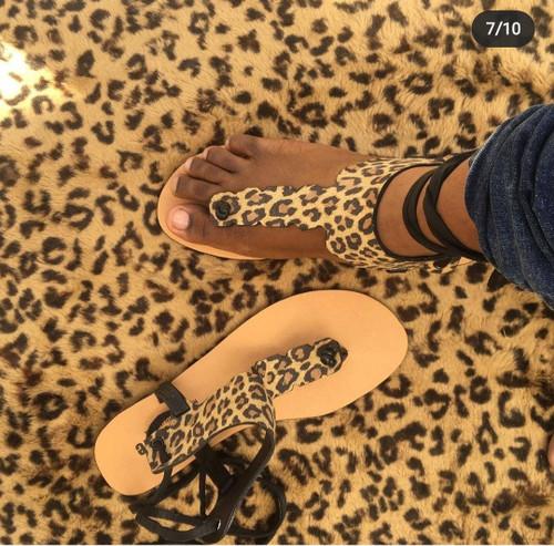 Leopard T Sandals