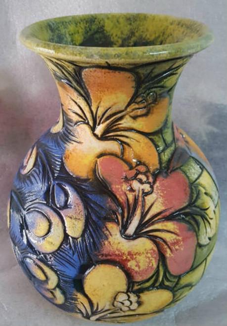 Peacock & hibiscus vase