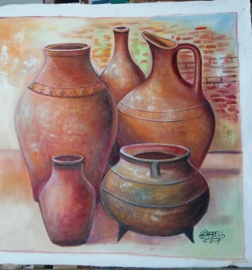 Jars & old three leg pot
