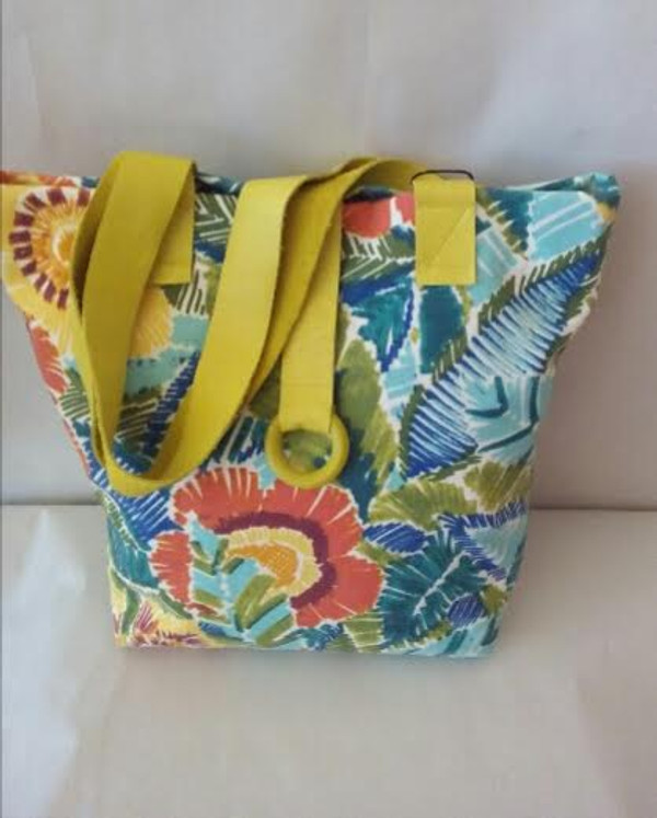 Ikatan Leather Handle floral tote