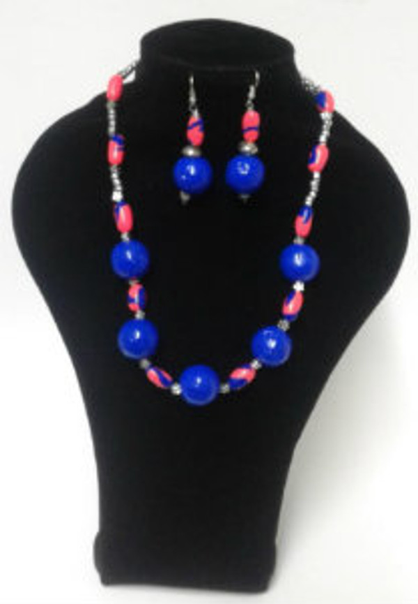 Blue paper bead Necklace set