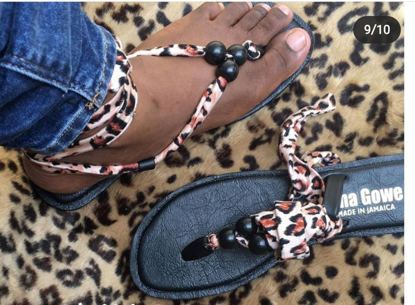 Leopard Beaded Sandals by Donna