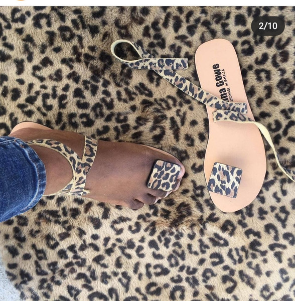 Leopard Square Toe Sandals by Donna