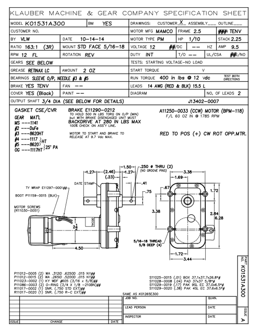 Rv Power Gear Slide Out Motor Pn 523900 (K01531A300)