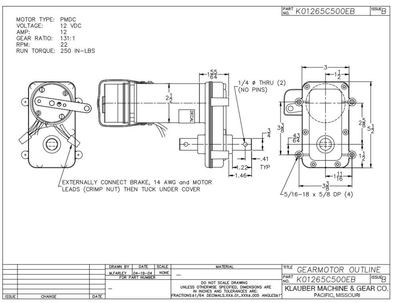 Rv Power Gear Slide Out Motor Pn K01265C500 on
