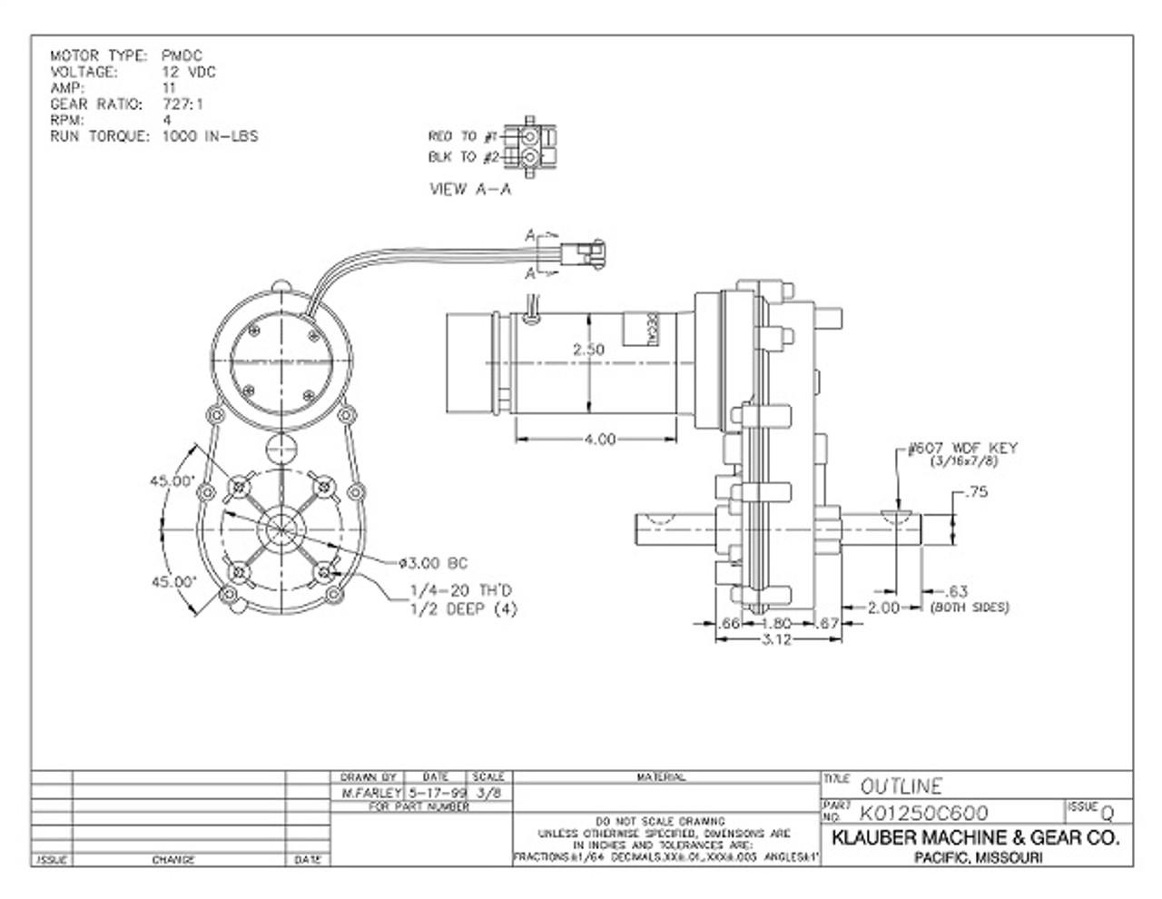K01250-C600 Klauber Gear Motor (K01250C600) on