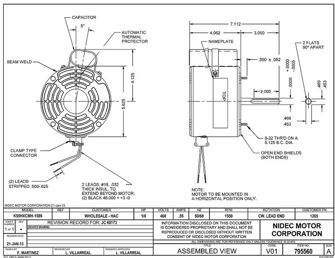 Nidec Condenser Fan Motor Wiring Diagram - All Wiring Diagram on