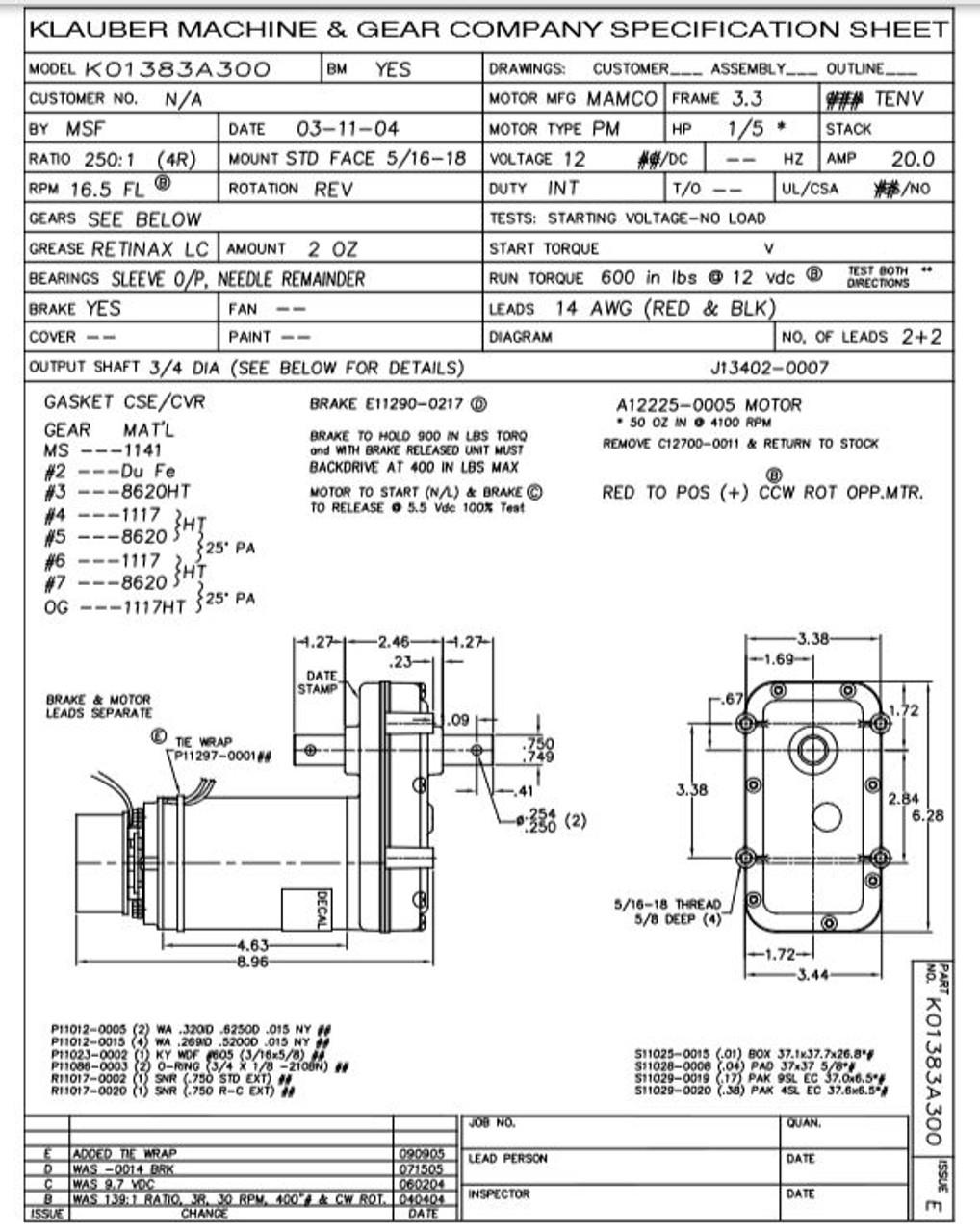 K01383A300 Klauber Gear Motor