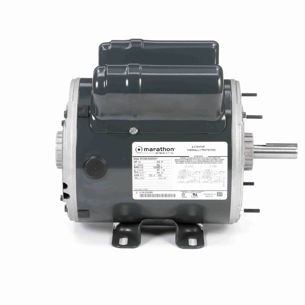 C1461 Instant Reversing Single Phase Capacitor Start Dripproof Motor 3/4 HP