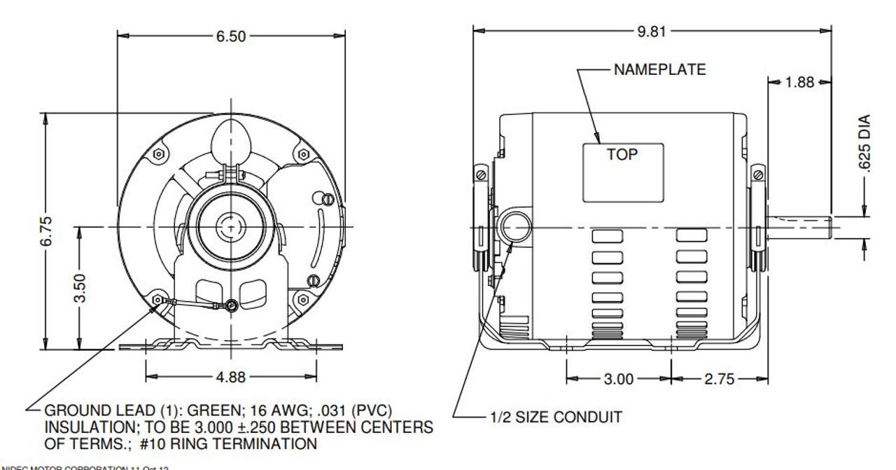 US Motors 4114 Belt Drive Blower