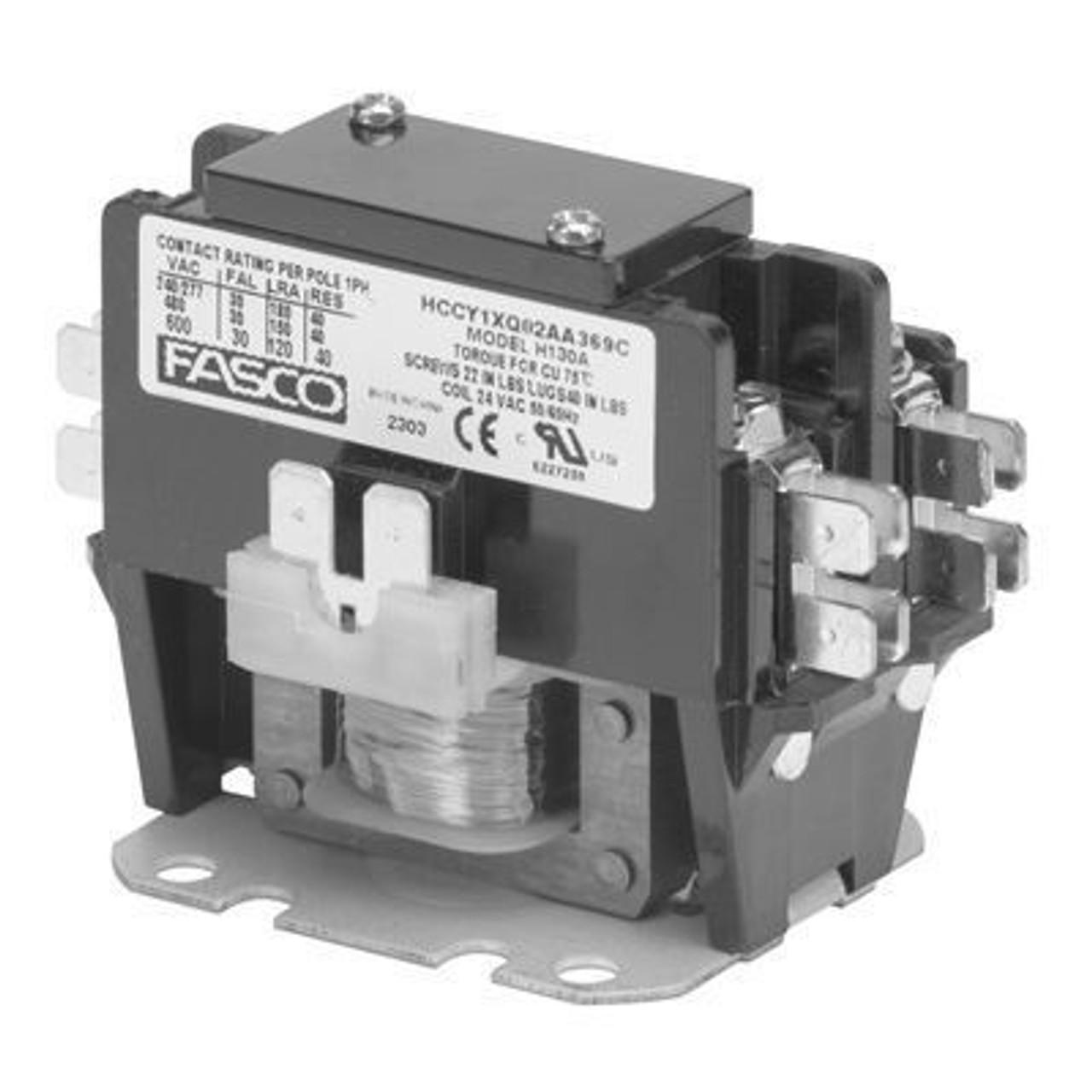 H130B, 1 pole, 30 amp, 120v coil Fasco Contactor