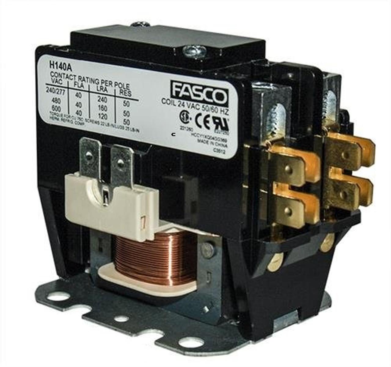 H140B, 1 pole, 40 amp, 120v coil Fasco Contactor