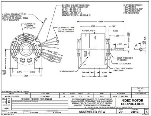 """1/3 hp 1625 RPM 1-Speed 230V; 5.6"""" Condenser Motor Nidec # 4811"""