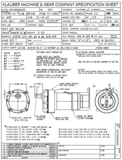 K01265M400, LC386321,  Rv Power Gear Slide Out Motor Pn K01265-M400,   (4 bolt Pattern)