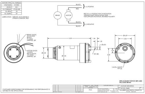 K01531D400,   (K01389-A400) Rv Power Gear Slide Out Motor