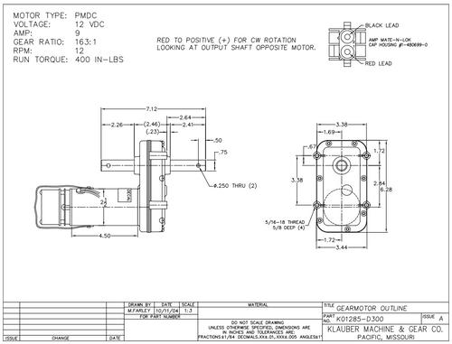 K01285D300  (138449)  RV Power Gear Slide Out Motor
