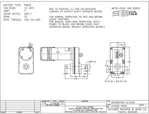 K01285N500   RV Power Gear Slide Out Motor  (Lippert 130057)
