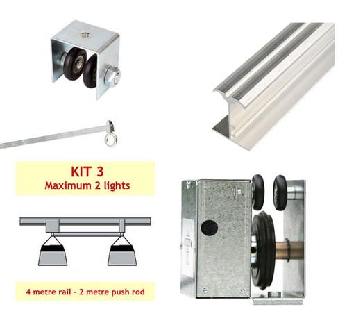 JUPITER 2 LIGHT 4 MTR RAIL FOR 2 LAMPS INLINE PUSH ROD - KIT- 3 (DELAY)