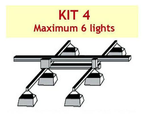 JUPITER 2 LIGHT 4 MTR RAIL 2 - 6 LAMPS 2 X BARS + P/ROD - KIT- 4 - (DELAY)