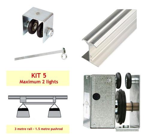 JUPITER 2 LIGHT 3 MTR RAIL FOR 2 LAMPS ON PUSH ROD - KIT- 5 (DELAY)