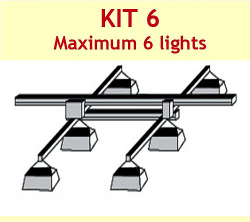 JUPITER 2 LIGHT 3 MTR RAIL 2 - 6 LAMPS 2 X BARS + P/ROD - KIT- 6 (DELAY)