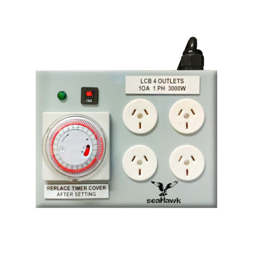 4 OUTLET HEAVY DUTY LIGHT TIMER 3000W 15 AMP + SEP/TIMER LEAD SM-EARTH