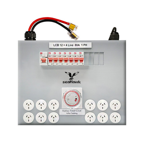 12 OUTLET + 4 LIVE LIGHT CONTROL BOARD - 12000W 80 AMP - NO DELAY STD MODEL