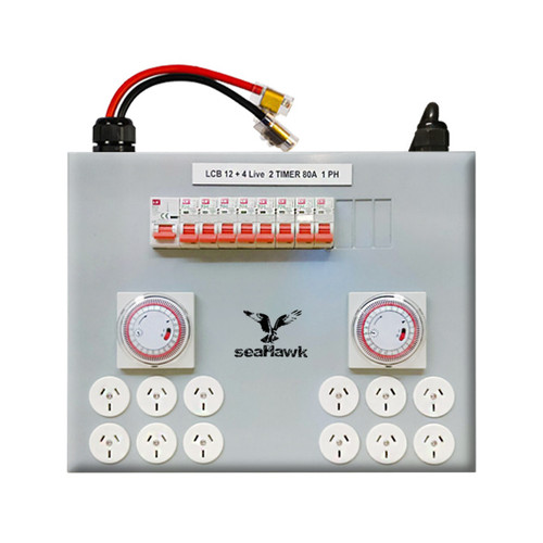 12 OUTLET LIGHT CONTROL BOARD 12000W 80 AMP WITH TWO TIMERS
